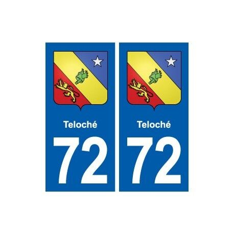 72 Teloché blason autocollant plaque stickers ville droits