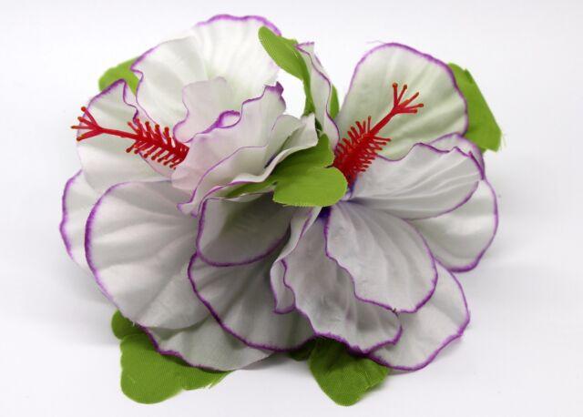 Hawaii Hair Clip Lei Party Luau Hibiscus Flower Dance Beach Photo All White DL