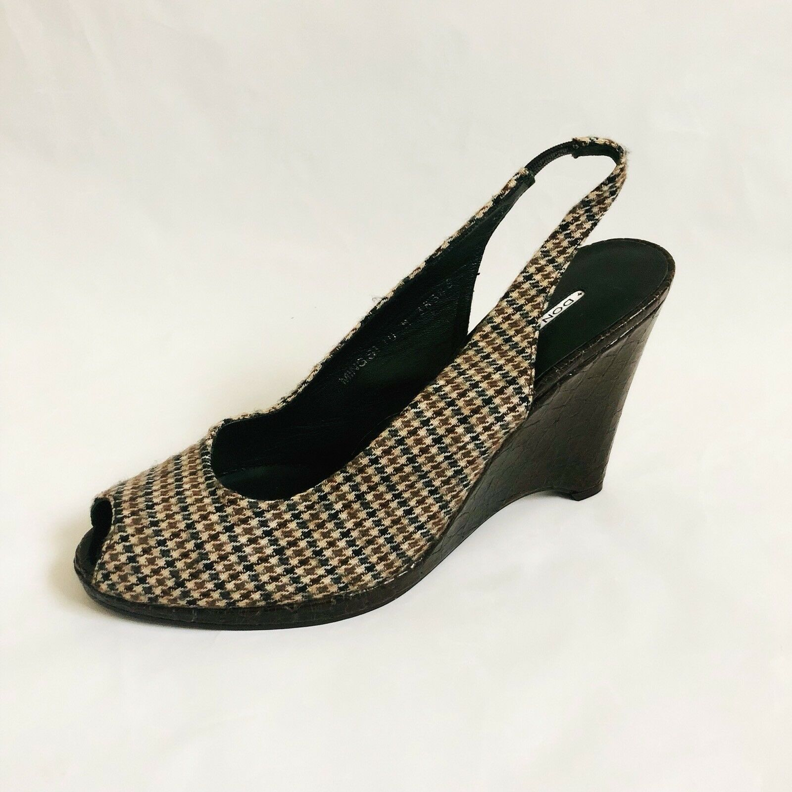 Donald J Pliner Ming S1 Heel Wedges Sandals Fabric Sz 10 Crocodile Shoes