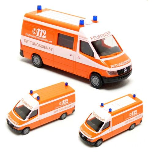 Herpa 042604 MB Mercedes Benz Sprinter RTW KTW Feuerwehr Frankfurt Main 1:87 H0