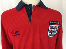 Vintage Umbro England Men Polo-shirt Red Large - Excellent Condition