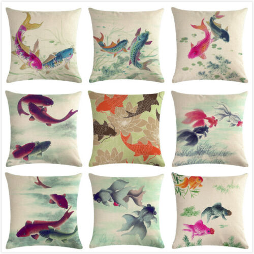 Lovely Goldfish Home Decorative Throw Pillow Covers Ink Painting Cushion Case