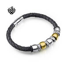 Silver gold black leather stainless steel handmade bracelet round