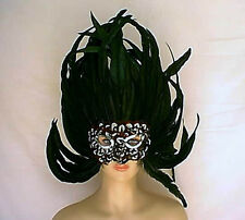 """Giant 18"""" Tall x 17.5"""" Wide Black Coque + Pheasant Feather Mask w Sequin Trim"""