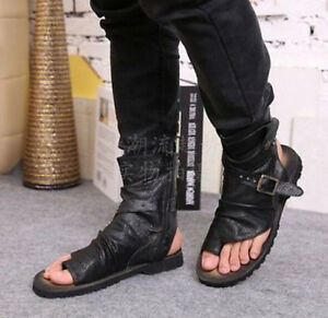 7cfaa1740 Chic Mens High Top Genuine Leather Sandals Beach Thong Gladiator ...
