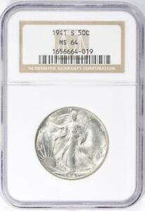 1941-S Walking Liberty Half Dollar - NGC MS-64 - Mint State 64