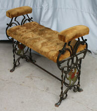Antique Cast Iron Fireside Bench – figural griffons on the ends