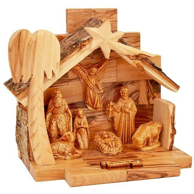 SpringNahal Olive Wood Crib 6.5 Bethlehem Christmas Nativity Set Crib Tree from Bethlehem with a Certificate Made in The Holy Land Medium