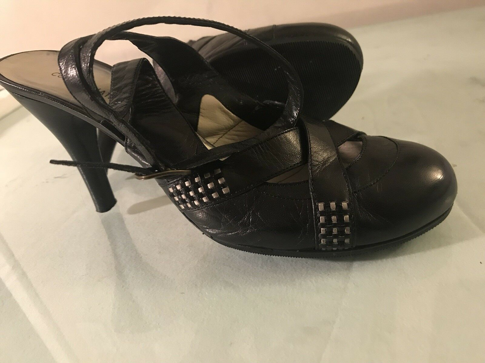 Costume National Studded Ankle Trap Heels