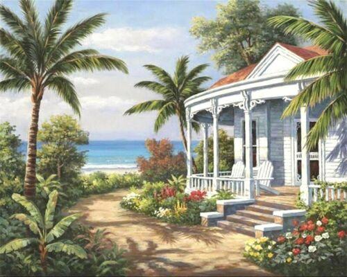 Paint By Numbers DIY Kit House jungle Seascape 40CMx50CM Canvas