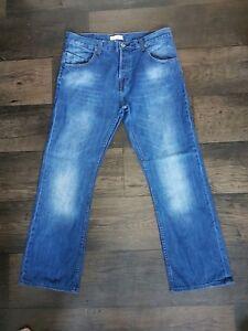 "Mens Firetrap Blue Straight Jeans W34"" L34"" Regular SchöNer Auftritt Jeans"