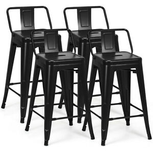 Admirable Details About Set Of 4 Low Back Metal Counter Stool 24 Seat Height Bar Stools Matte Black Gamerscity Chair Design For Home Gamerscityorg