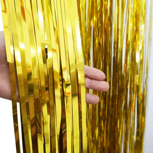 3ft X 9ft Gold Foil Fringe Curtain Backdrop Party Wedding Party Decoration so