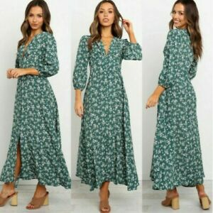 Women-Boho-Floral-Long-Dress-Ladies-Holiday-Summer-Beach-Maxi-Dress-3-4-Sleeves