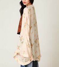 ONE TEASPOON  Yellow Silk Kimono FREE PEOPLE Floral Printed Cape Jacket 4 Small