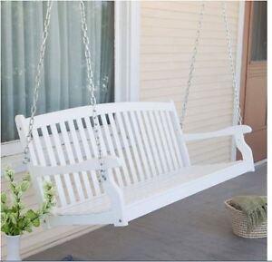 4 Ft Porch Swing Bench White Wood Patio Furniture Loveseat Backyard