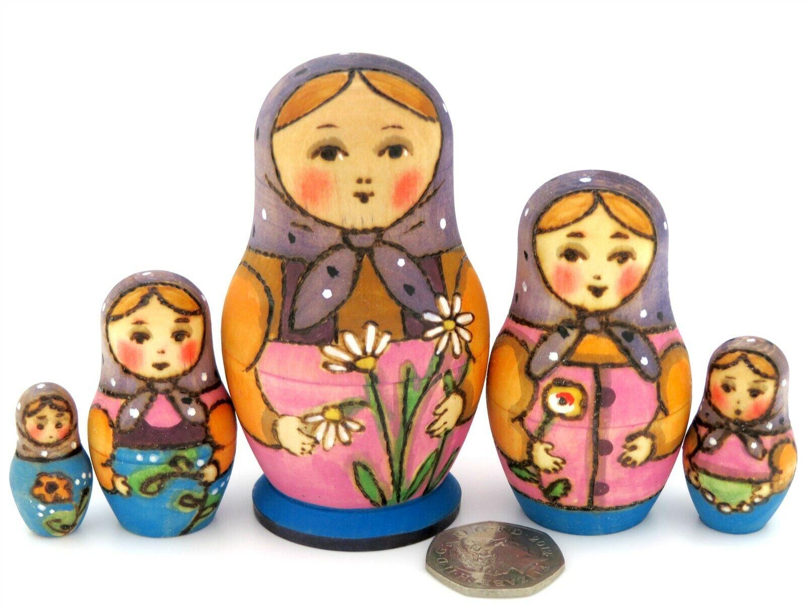 Ryabova Matrioska Russa Babushka Piccolo Nidificazione Bambole 5 a Mano Firmato