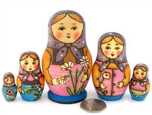 RYABOVA-Matryoshka-Russian-Babushka-small-nesting-dolls-5-HAND-PAINTED-signed
