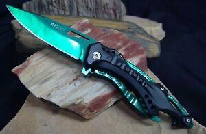 MTech Assisted Blade Tactical Green Rescue Pocket Knife Vib Bottle Opener