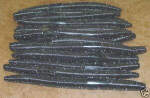 "6"" Stick Senko Style Black 50 pack Bulk Bass Plastic Worm"