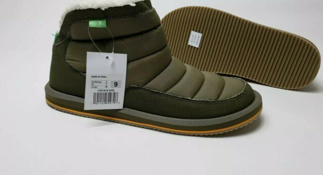 Sanuk Puff N Chill Dark Olive Boots Womens Size 9 *NEW*
