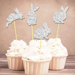12 X Easter Bunny Conejo Brillo Cupcake selecciones Toppers Compre 2 y obtenga 1 Gratis