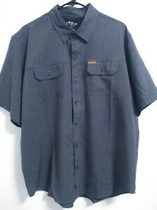 Orvis-Mens-Size-XL-Charcoal-Gray-Polyester-Outdoor-Short-Sleeve-Button-Up-Shirt