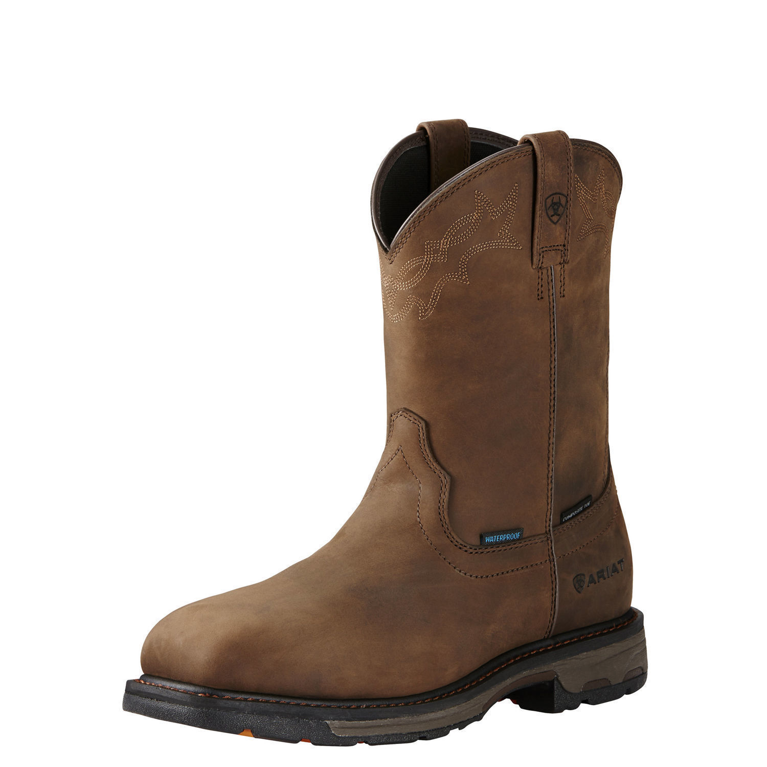 Ariat 10020092 Workhog H2O Safety Toe Pull On EH Rated Western Wellington Boots