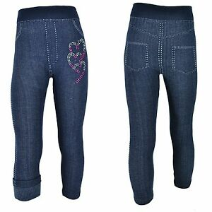 Thermo  Leggings Mädchen Jeans Winter Jeggings Kinder Treggings Leggins Strass