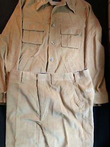 Vintage Haggar Mens  Leisure Suit Disco 1970s Jacket Pants Tan Khaki Corduroy 44