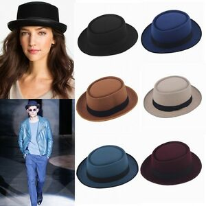 Womens-Men-Hard-Felt-Black-Band-Pork-Pie-Fedora-Trilby-Sailor-Boater-Hats-Caps