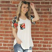 Sexy Fashion Women's Summer Loose Short Sleeve Casual Tank Tee Shirt Blouse Tops