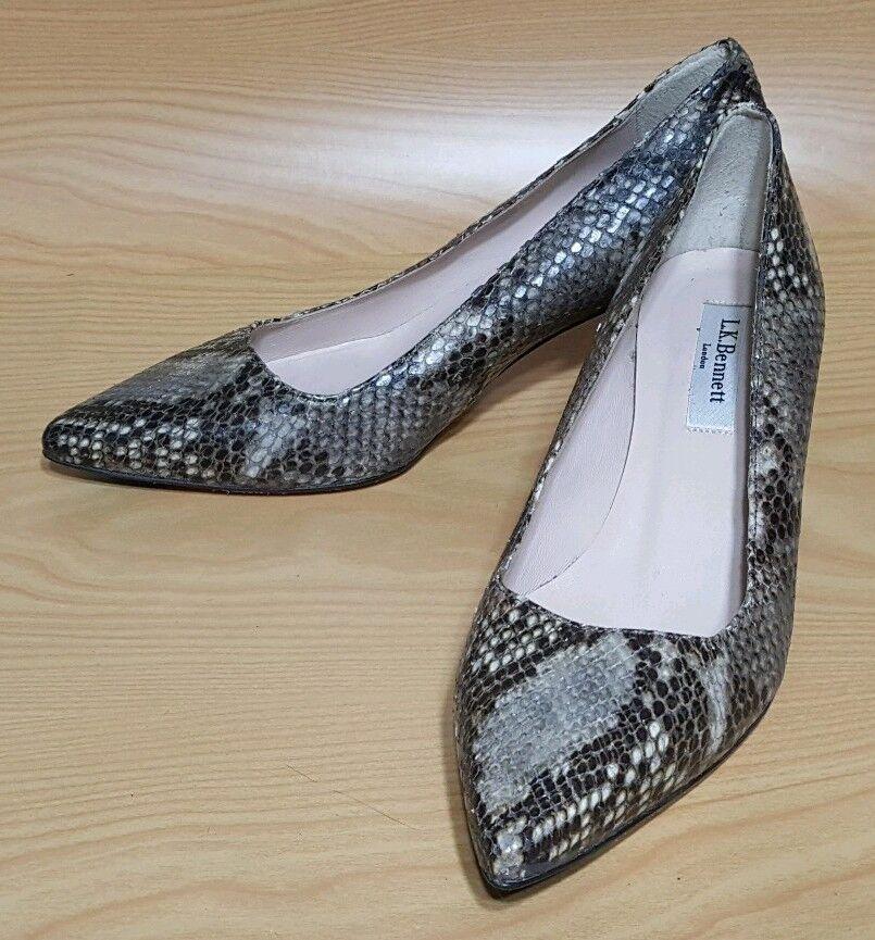 L. K. Bennett London Snake Print Leather Pumps Kitten Hells Women's shoes 7   37