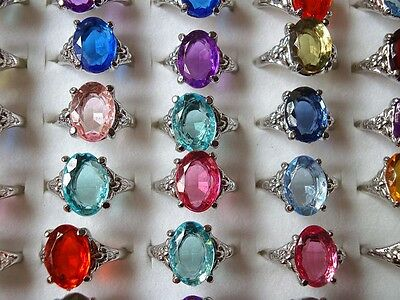 10pcs wholesale jewelry lots Colorful silver plated rings jewelry Gift New