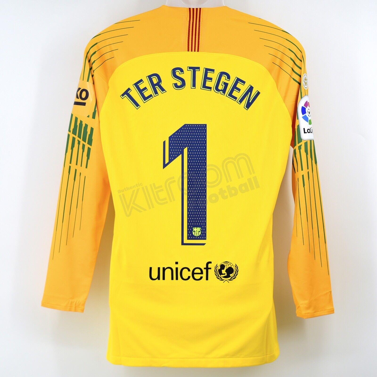 201819 Barcelona Player Issue giallo GK Shirt  1 Ter Stegen La Liga Match Un...