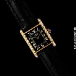 7a27b7a7ee3f La foto se está cargando CARTIER-tanque-Vintage -para-Hombres-reloj-de-Diamante-