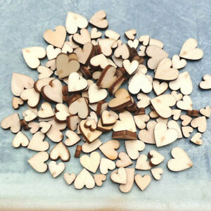 100PCS Rustic Mixed Wooden Love Heart DIY Wedding Table Scatter DecorationCrafts