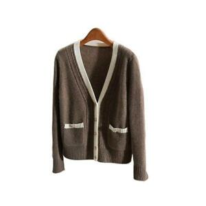 Womens-Classic-100-Cashmere-Button-V-Neck-Long-Sleeve-Knit-Sweater-Cardigan-sz