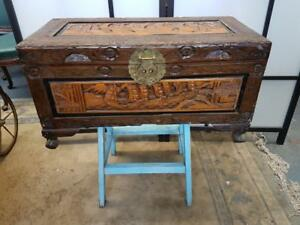 ANTIQUE / VINTAGE SMALL CHINESE CAMPHORWOOD CHEST / TRUNK WITH BRASS FITTINGS