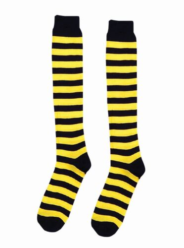 Yellow and Black Striped Knee High Socks Bumble Bee Clown Teen to Adult Size