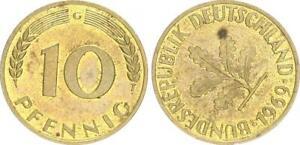 Rfa 10 Peniques 1969G Fehlprägung: 305 Grados Stempeldrehung A Derecho 50477