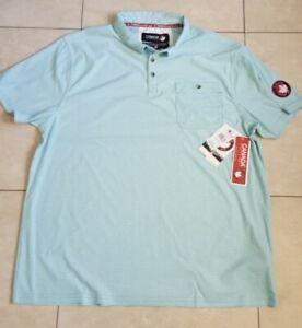 Details about Canada Weather Gear Mens Aqua Stripe Button Pocket Golf Polo Shirt XL ,,# 31