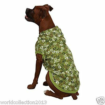 CASUAL CANINE POLYESTER / COTTON BONE HEADS WAFFLE DOG HOOD (X- LARGE) GREEN