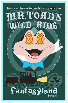 "VINTAGE DISNEY COLLECTOR'S POSTER 12"" X 18"" - FANTASYLAND - MR. TOAD'S WILD RIDE"