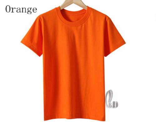 AU STOCK CHILDRENS UNISEX 100/% COTTON PLAIN BASIC T-SHIRT SHORT SLEEVE TOP KT001