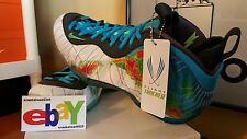 Nike Air Foamposite One PRM 6/03/13 WHT/CURRENT BLUE-FLASH LIME 575420 100