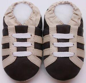 Suave-Suela-Cuero-Bebe-Zapatos-Botas-Marron-4-5-Nino-Minishoezoo