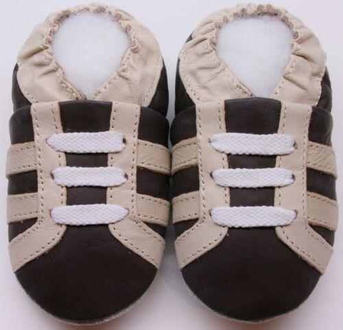 Mini Shoezoo Weiche Sohle Leder Babyschuhe Stiefel Braun 3