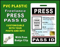 Press Pass Id Badge (freelance) >>custom W/ Your Photo & Info<< Pvc - Style 3