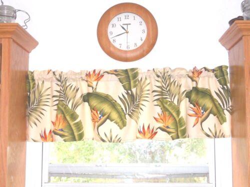 Tropical Hawaiian 100/% Cotton Barkcloth Fabric VALANCE ~Lani~